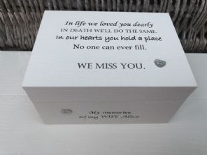 Personalised In Memory Of A Loved One ~ Box ~ WIFE ~ any Name Bereavement Loss - 253568109221